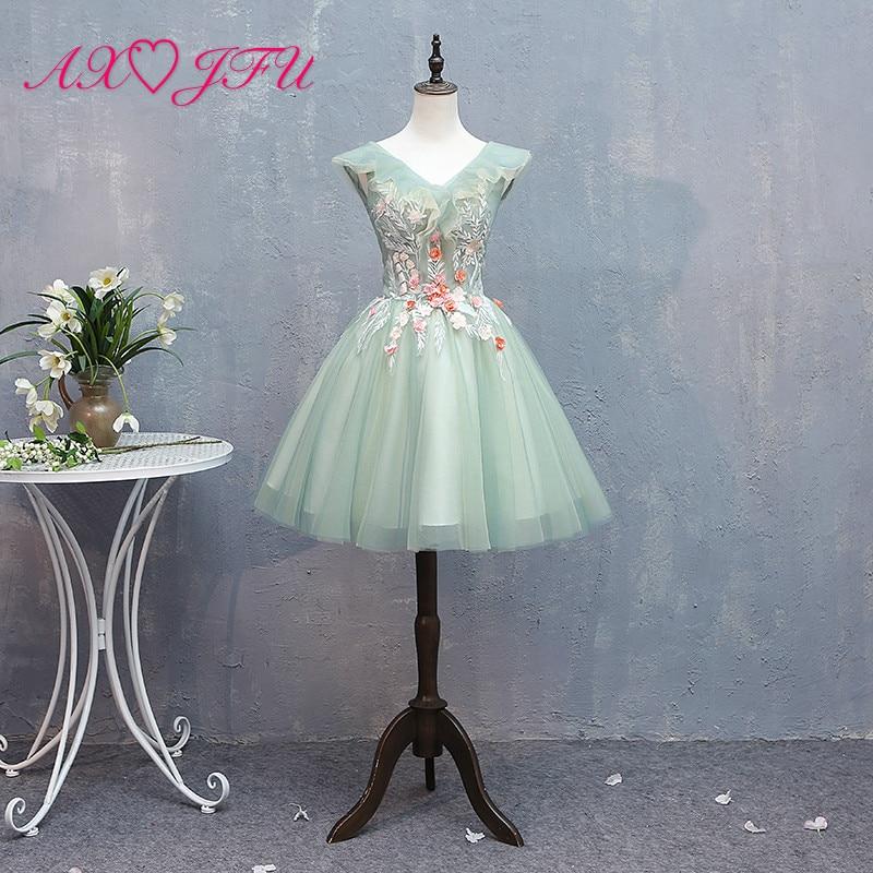 AXJFU princess green lace flower   evening     dress   party vintage v neck illusion red flower ruffles sleeveless green   evening     dress
