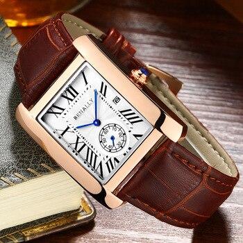 High Quality date Waterproof SQUARE quartz Watch men, brand onola top leather exquisite Gentlemen elegant men's Wristwatch