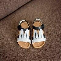Lovely Rabbit Ear Children Leather Sandals For Girls Beach Shoes Summer Shoes For Baby Girls Dance