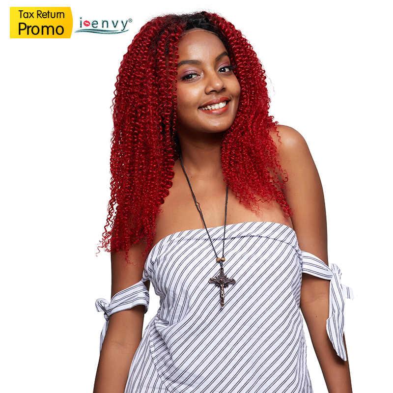 Завидую Ombre красный Синтетические волосы на кружеве человеческих волос парики Черный женщина 99J перуанские вьющиеся волосы парик 4X4 кружева закрытия парики 180 плотность не Remy