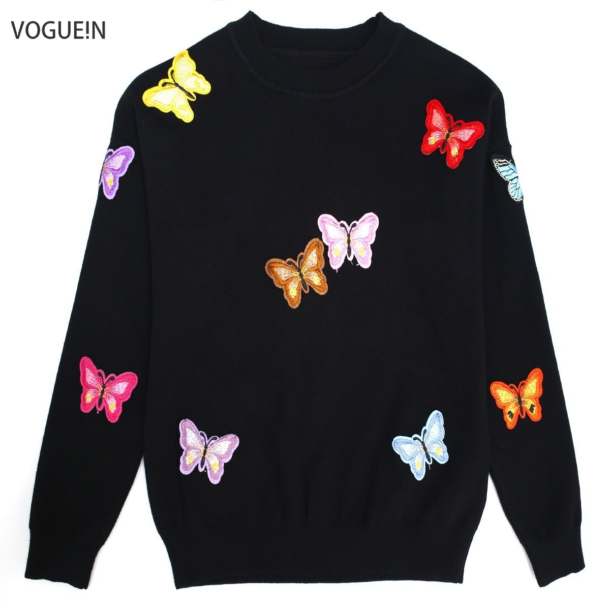 VOGUEIN  New Womens Fall Winter Butterfly Embroidered Applique Luxury Knitting Sweater Warm Pullover Tops Size SML Wholesale