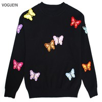 VOGUEIN New Womens Fall Winter Butterfly Embroidered Applique Luxury Knitting Sweater Warm Pullover Tops Size SML