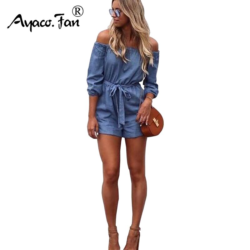 2019 Woman Summer Playsuits Shorts Short Casual Off Shoulders   Jumpsuits   Jeans Coverall Women Blue Denim Overalls Shirt Rompers