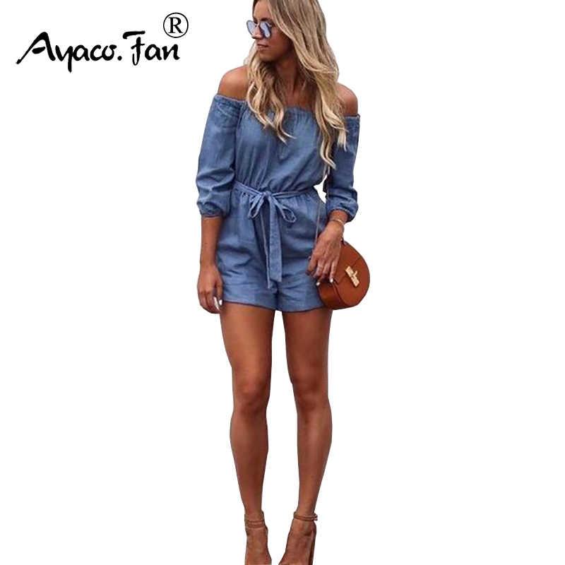 2019 Летняя женская обувь женский пляжный костюм с шортами короткие Повседневное c оголенными плечами комбинезоны джинсы комбинезон Для женщин синий Джинсовые комбинезоны комбинезон