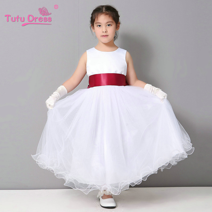 White Flower Girl Petals Dress Pageant Wedding Bridal Dress Children ...