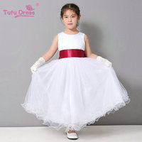 Flower Girl Dresse Wedding Easter Junior Bridesmaid Dress Curl White Princess Girl Dress