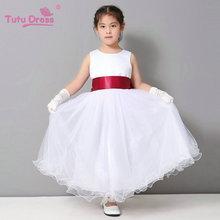 Flower Girl Dresses Wedding Easter Junior Bridesmaid White Curl Princess Girl Dress