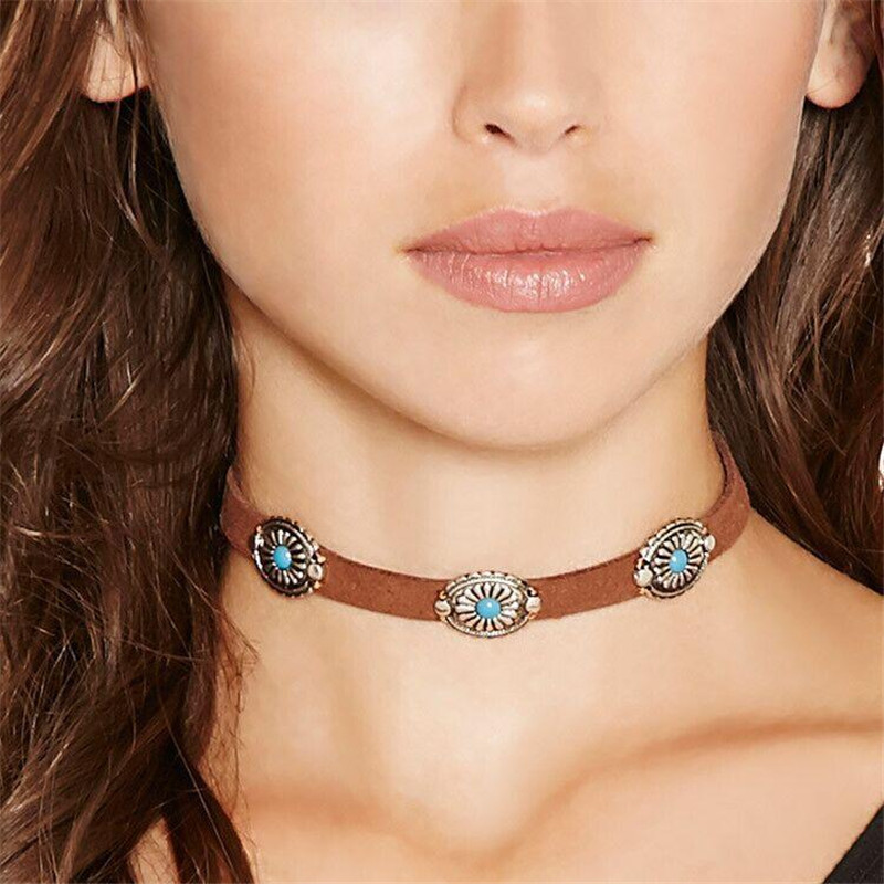 Delicious Shuangr Pu Leather Choker Necklace Vintage Bohemia Zinc Alloy Resin Chokers Necklace For Women Jewelry Clear And Distinctive