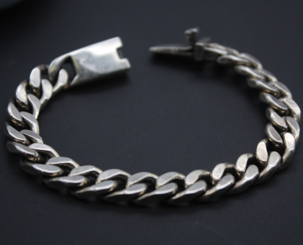New Arrival Pure S925 Sterling Silver Chain Women Men Curb Link Bracelet 32-33gNew Arrival Pure S925 Sterling Silver Chain Women Men Curb Link Bracelet 32-33g