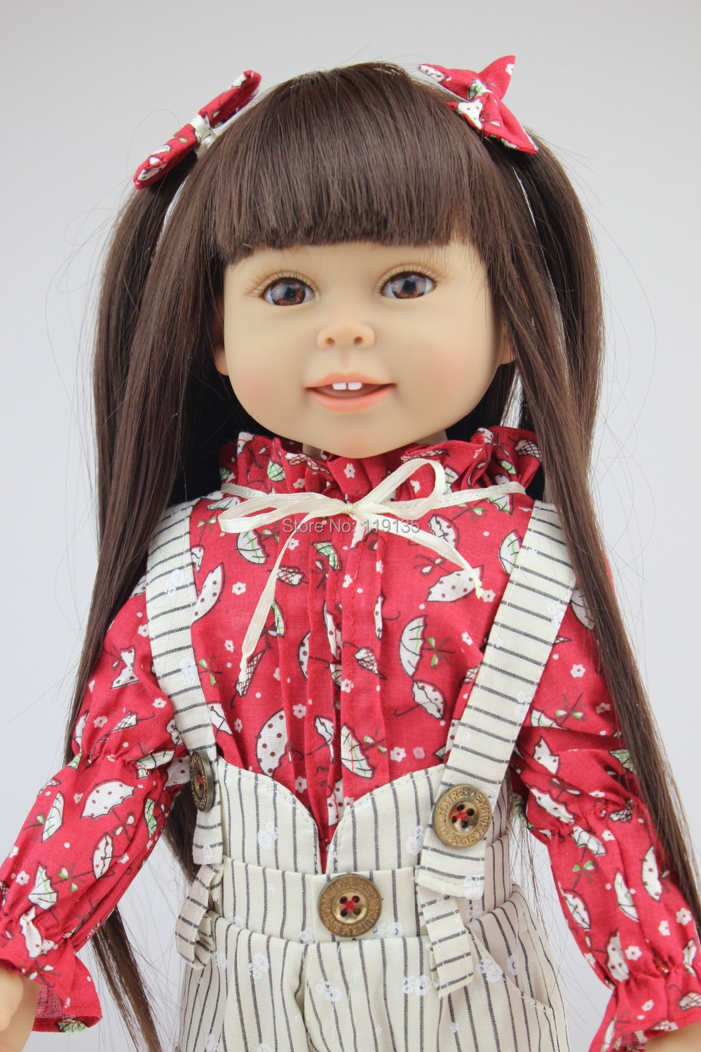 ФОТО Free shipment 18'' 45CM american girl Brown Long hair Beauty Girl Reborn handmadere Imported Vinyl newborn baby girl doll