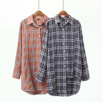 Plus Size Cotton Plaid Blouse Women 2018 Dark Gray Coral Red Hollow Out Shirt Turn Down