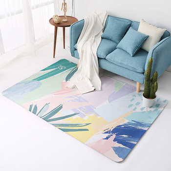 Europe Simple Fashion Abstract Plant Pattern Washable Non-slip Beautiful Coral Fleece Floor Carpet for Living Room Bedroom Rug