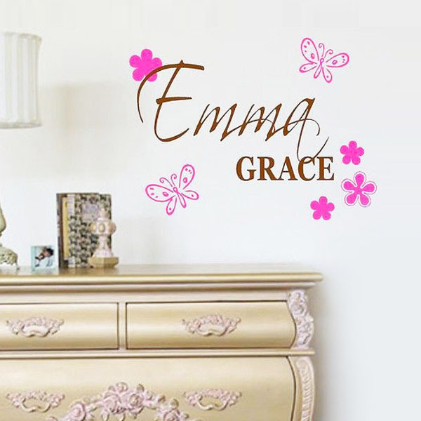 Custom name butterfly flower wall stickers baby girl for Home decor names