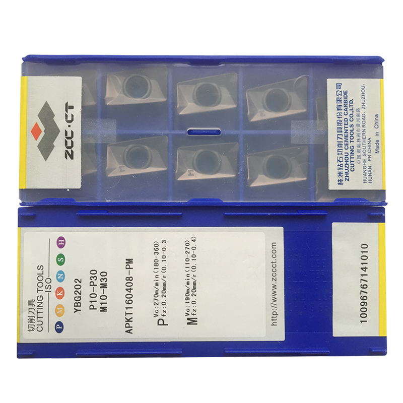 50pcs ZCC insert YBG202 APKT160408 PM ZCCCT APKT160408 APKT 160408 APKT16 ZCCCT Carbide insert milling tools