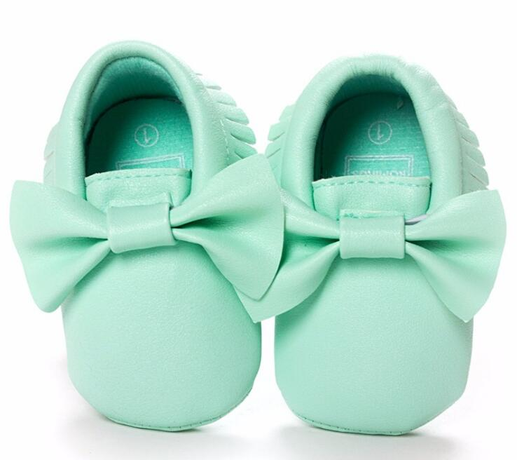 ROMIRUS Baby Girls Cute Bow Pirncess Shoes Pu Leather Moccasins Infant Toddler Newborn Girls Prewalkers Kids Baby Shoes
