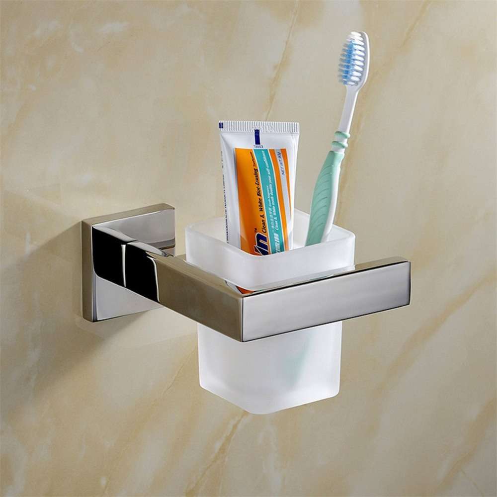 Leyden Chrome Toothbrush Holder With Single Glass Cup Sets Silver 304 Stainless Steel Classic Bathroom Accessories Set image