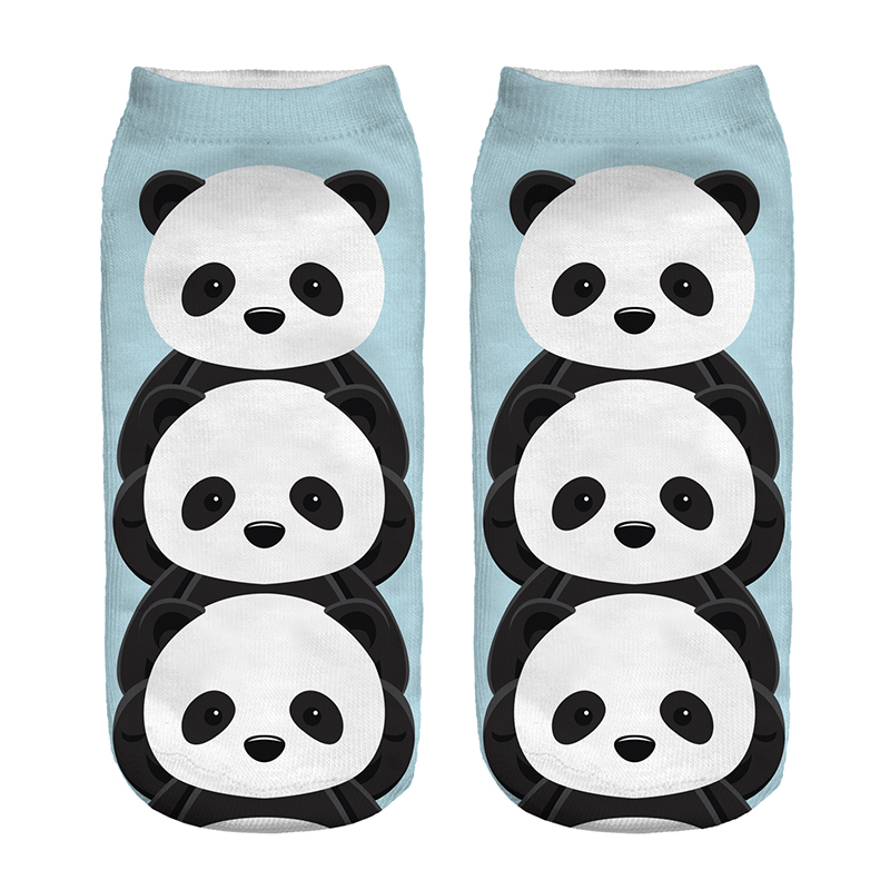 1 Pair Cute Pandas Printed Socks Kids Children Low Cut Ankle Color Cotton  Sock Casual Character Short 3D Sock