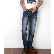 Straight jeans male models denim trousers casual style cat to be washed jeans blue casual style