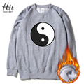 HanHent Fashion TAI CHI Sweatshirts Fleece Men Round Collar Winter Thicken Clothes Pullover Chinese Style Panda Hoodies AD0662