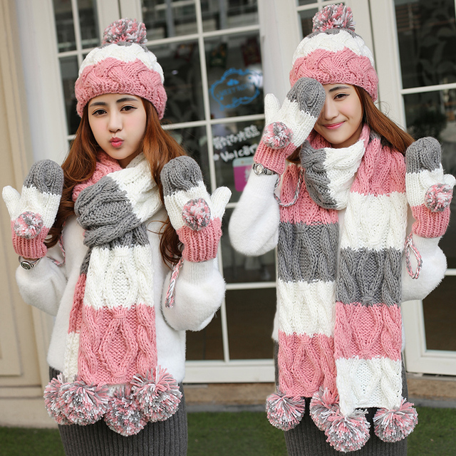 Christmas birthday gift girls winter multi-colored knitted hat scarf gloves three pieces set one piece