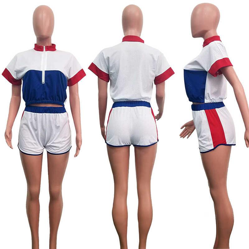 2 TWEE DELIGE SET Mesh Shorts Hollow Out Crop Top Korte Mouwen Trainingspak Vrouwen Blok Kleur Patchwork Neon Sexy Zweet pak Zomer
