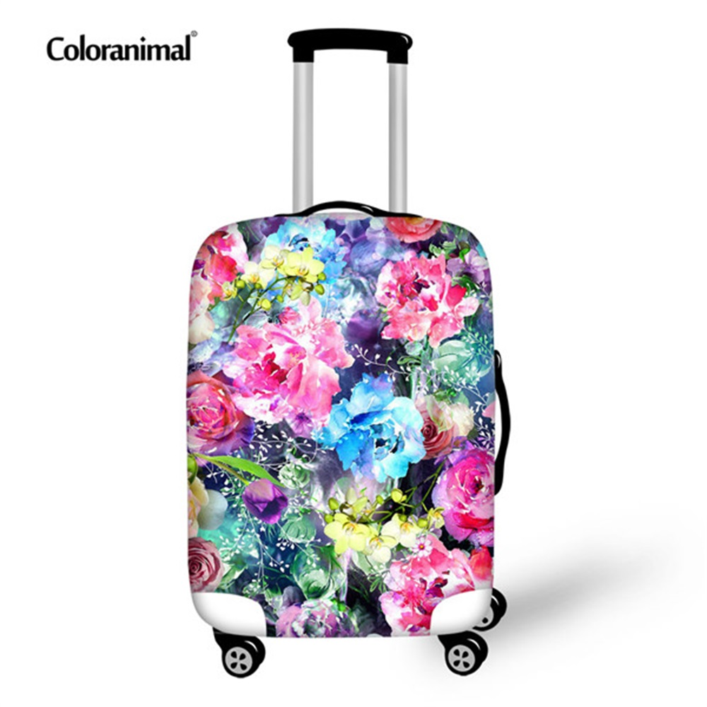 Coloranimal Colorful Flower Pattern Thick Luggage Cover for 18-30 Inch Travel Trolley Suitcase Elastic Protect Dust Case Covers