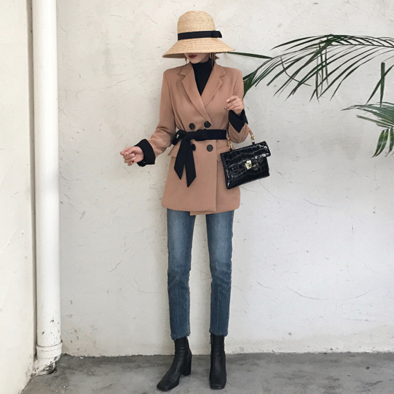 Korean Style 2019 Spring Women Blazers Solid Elegant Mid-Long Double Breasted Slim Lace Up Women Blazer And Jackets Femme AO531