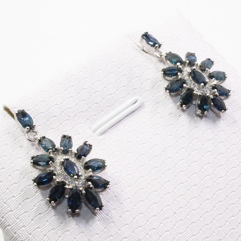 Elegant sapphire earrings for party 24 pcs natural Chinese sapphire earrings 925 silver sapphire jewelry