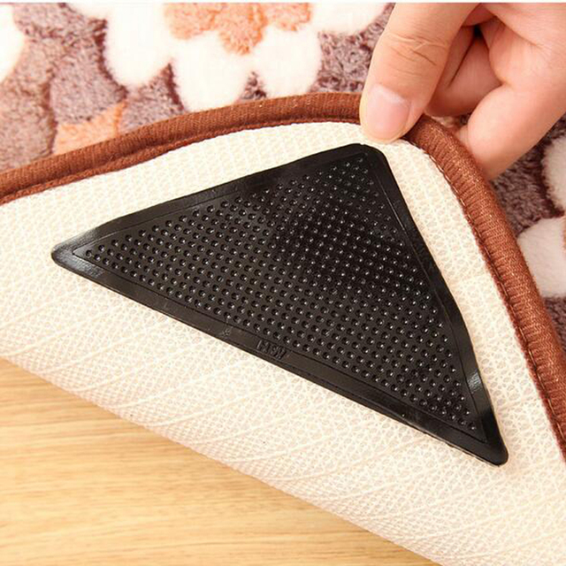 2017 Hot Sale 4pcs/Set Reusable Washable Rug Carpet Mat Grippers Non Slip Silicone Grip For Home Bath Living Room