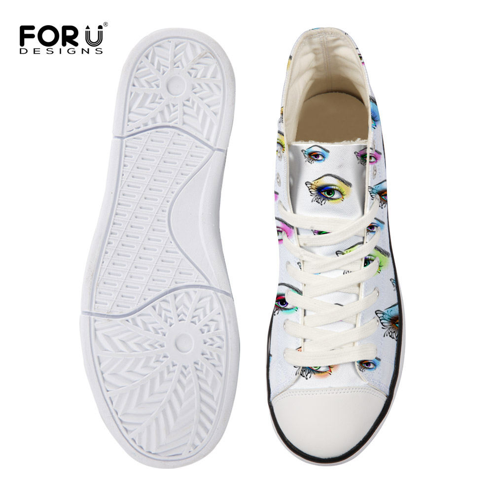 117dfd7f8396 FORUDESIGNS Classic High Top Casual Shoes Woman 3D Eyes Printed Canvas Shoes  for Women Lace up Flats Ladies Vulcanized Shoes -in Women's Vulcanize Shoes  ...