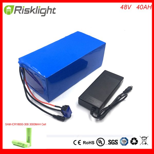 Ebike battery 48v 40ah 2000w 18650 battery 48v electric bicycle Lithium battery pack with 54.6v charger 50A BMS For Samsung cell battery 48v 14 5ah 1000w for panasonic cell lithium battery 48v with 2a charger built in 30a bms ebike battery 48v free shipping