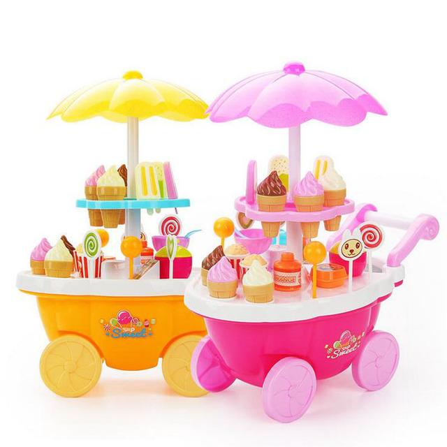 Nueva simulación pequeños carros chica mini-tienda de supermercado carrito de helados dulces niños de toys jugando en casa bebé toys