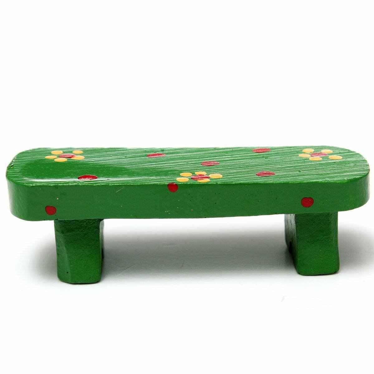 Миниатюрный Cute Bench мини-пейзаж кукольный завод DIY Craft домашний садовый декор, орнамент зеленый