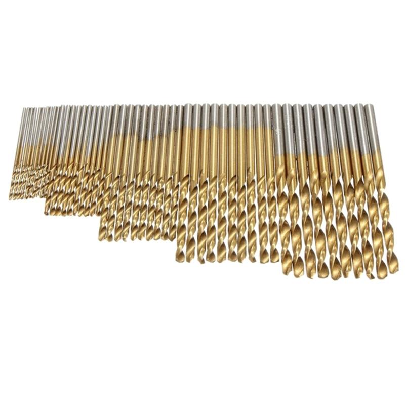 50Pcs 1/1.5/2.0/2.5/3mm Titanium Coated HSS Drill Bit Set  Twist Drill Bit  High Steel for Woodworking Plastic And  Aluminum 13pcs lot hss high speed steel cobalt drill bit set 1 5 6 5mm twist drills for thick iron and aluminum 3% co
