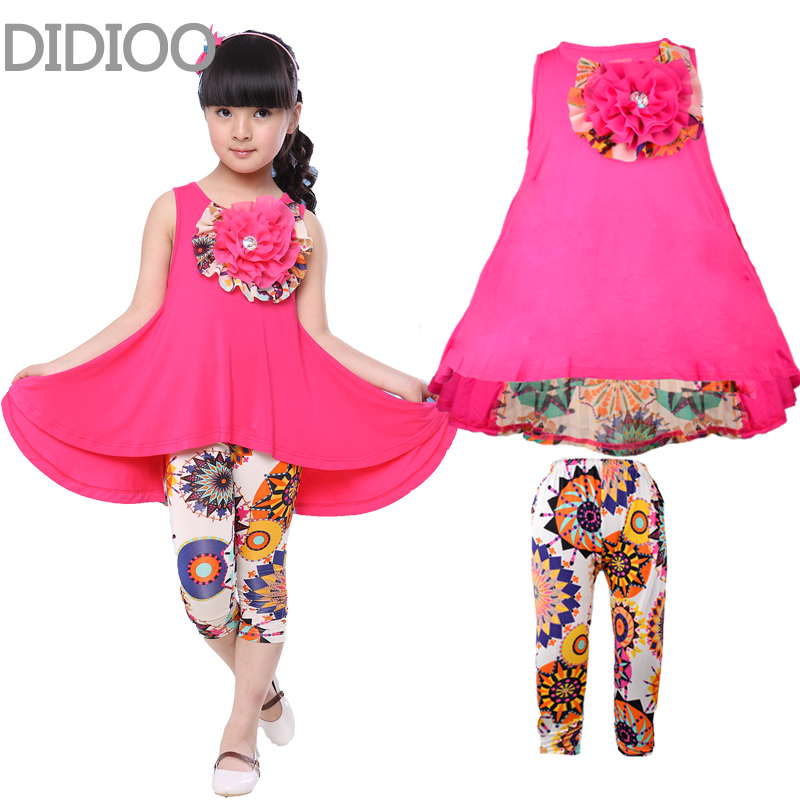 Big Girls Clothes Summer Children Clothing Sets 3D Flower Vest Dress & Pants 2Pcs Girl Suit New Fashion Casual Soft Kids Clothes