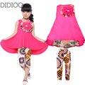 Meninas grandes conjuntos de roupas crianças roupas de verão 3d flor vest dress & calças 2 Pcs Terno Menina Nova Moda Casual Macio Roupa Dos Miúdos