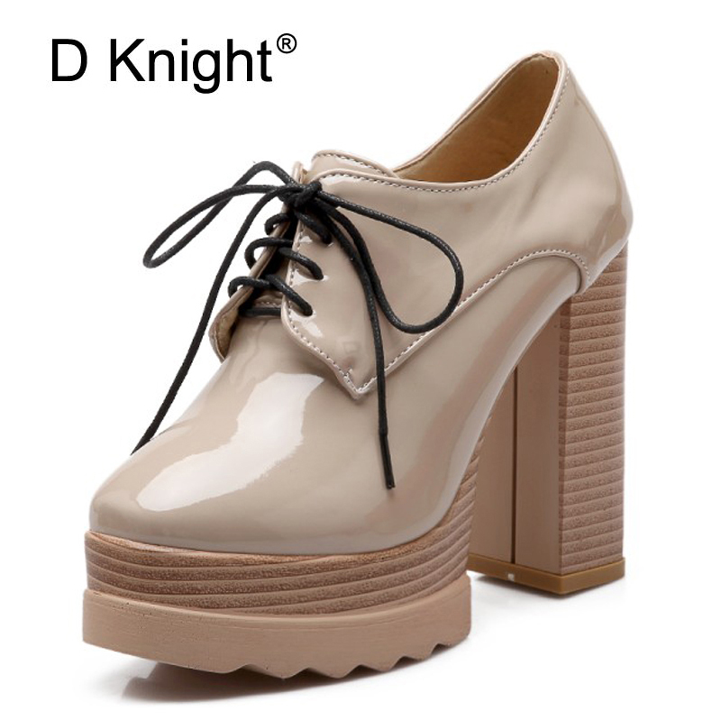 Office Ladies Casual Platform Shoes Bright Patent Leather Women Pumps Lace up OL Square Toe High