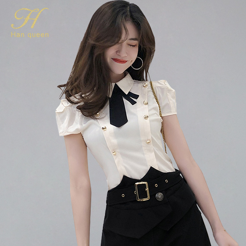 H Han Queen 2019 Summer Women Elegant OL Work Wear Shirts New Bow Double-breasted Blouses Formal Business Shirt INS Fitted Tops(China)