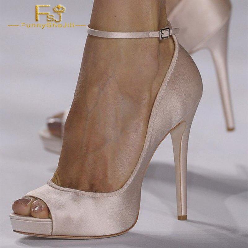 FSJ Women Shoes Ladies Pumps pink Peep Toe Stiletto Ankle Strap Heels 2020 Spring Autumn Big Size Shoes11 12 13