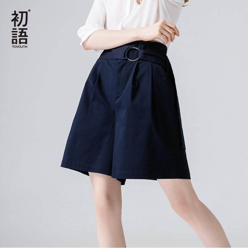 Toyouth Office   Shorts   Women 2019 Summer Korean Fashion High Waist   Shorts   Loose Harajuku Wide Leg   Shorts   With Belt