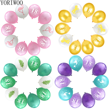 YORIWOO Latex Balloon 18 Birthday Balloons Set Gold Black Happy Banner 18th Party Decorations Photo Booth Props Frame