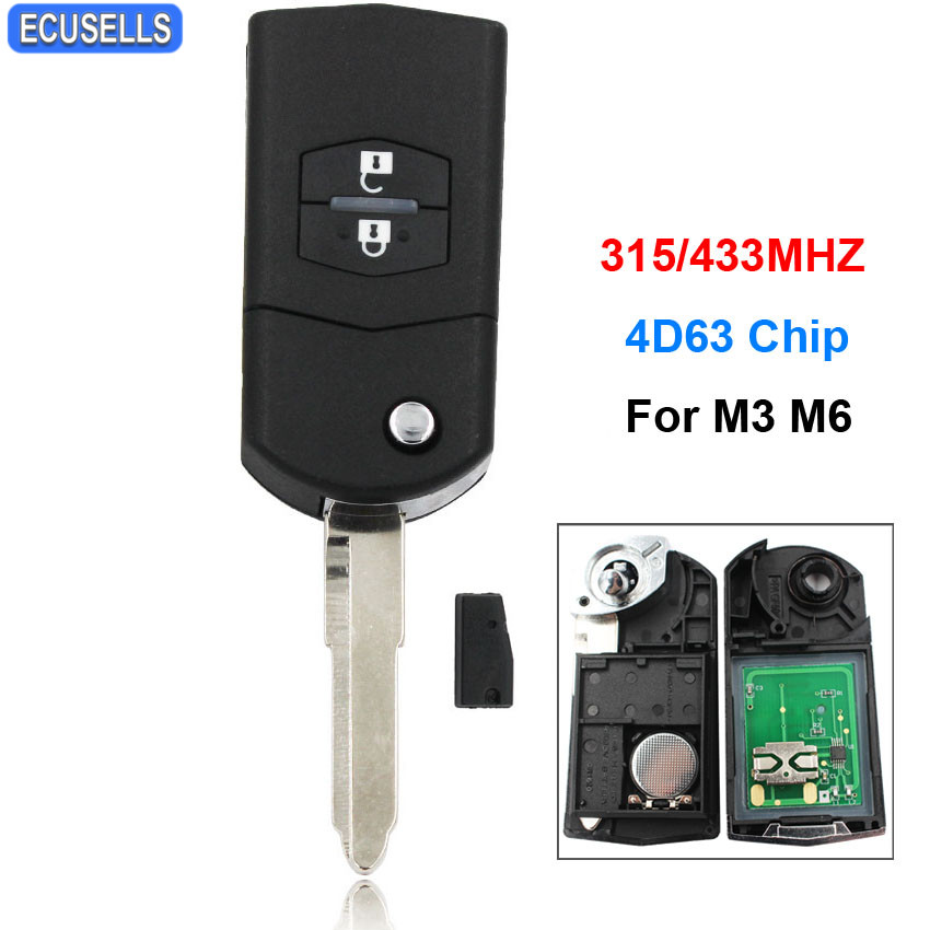High Quality 2 Button Folding Remote Key Fob Flip Smart Car Key 315Mhz Or 433Mhz For Mazda 3 6 M3 M6 With 4D63 Chip Uncut Blade