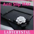 Ladycrystal Diamante Anti Slip Mat Para GPS Do Carro Boneca Camélia Silicone Não-deslizamento Do Carro Almofada Do Telefone Móvel Almofada