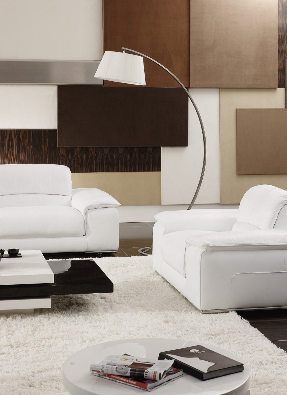 white/beige Sectional Leather Sofas Living Room 8230 leather sofa - Furniture - Photo 2