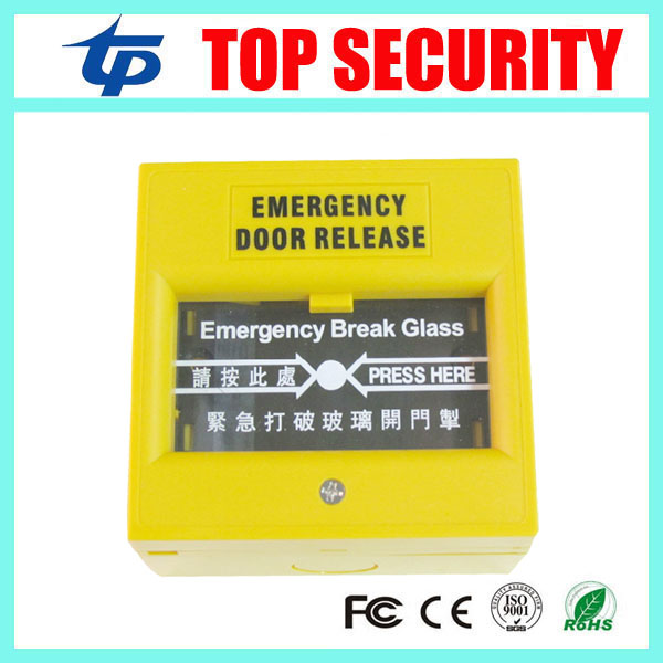 Free shipping emergency release exit button for door access control system door open exit switch glass broken exit button E20 free shipping plastic exit button exit switch for door access control system door push exit door release switch with back box