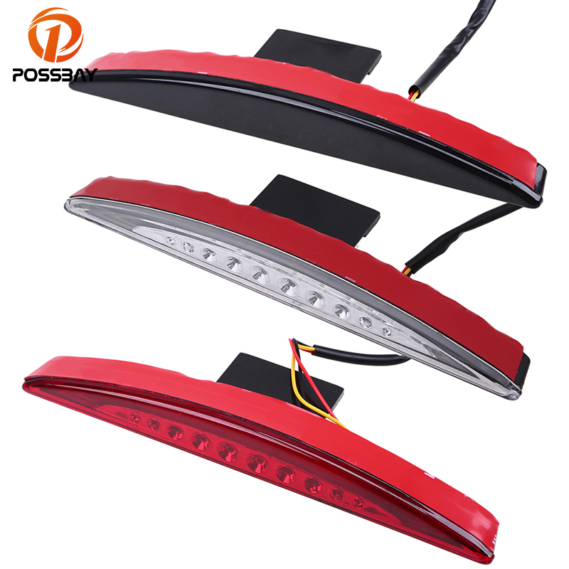 POSSBAY Red White Black Lens Motorcycle Fender Rear Taillight LED Brake Tail Light Lamp for Harley Breakout FXSB Scooter Light
