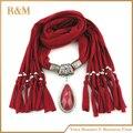 2016 primavera poliéster bufanda pendiente de la joyería con una aleación colgante gota de agua de piedra mantón de las bufandas para mujeres