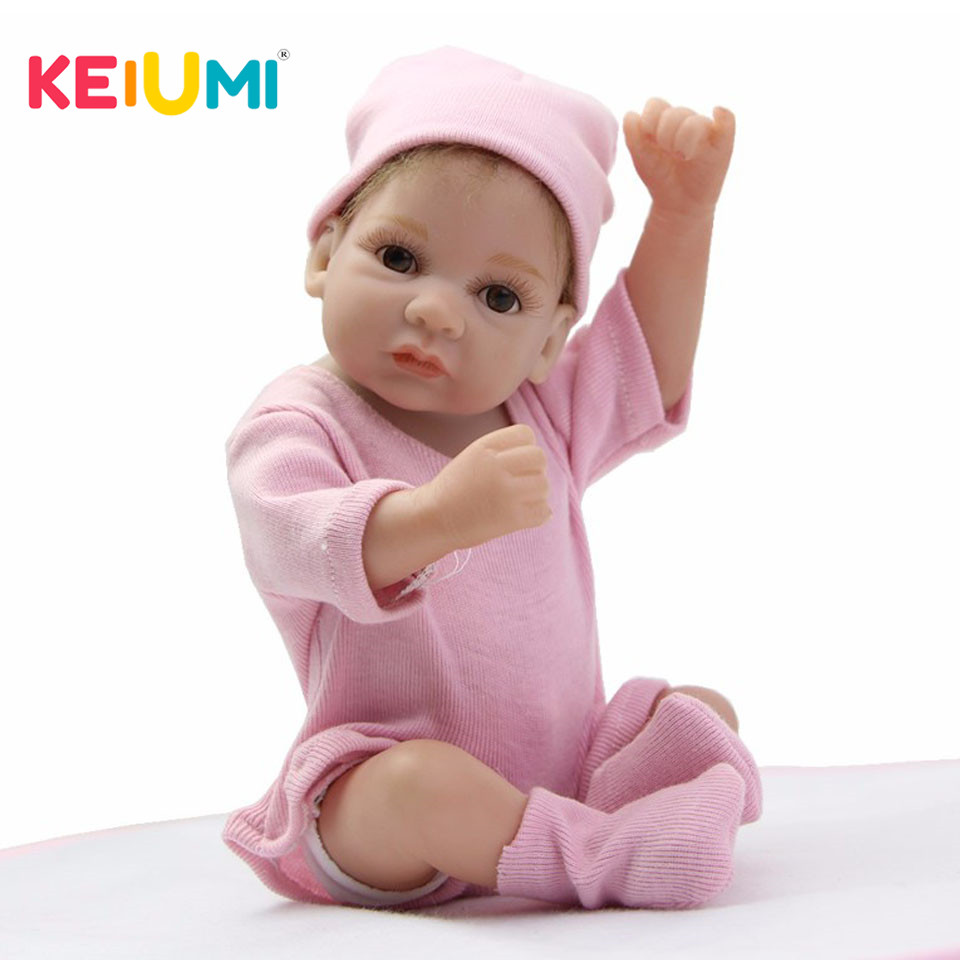 Lifelike Mini Reborn Dolls Full Body Silicone Vinyl 27 cm Boneca Reborn Babies 11 Inch Girl Birthday Gifts Educational Brinquedo keiumi 23 babies girl reborn baby doll full body silicone vinyl realistic 57 cm princess new born boneca reborn boneca gifts
