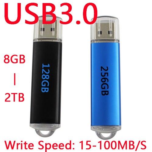 Fast Speed Black Blue Memoria USB Flash Drive 64GB USB 3 0 Pen Drive 256GB 128GB