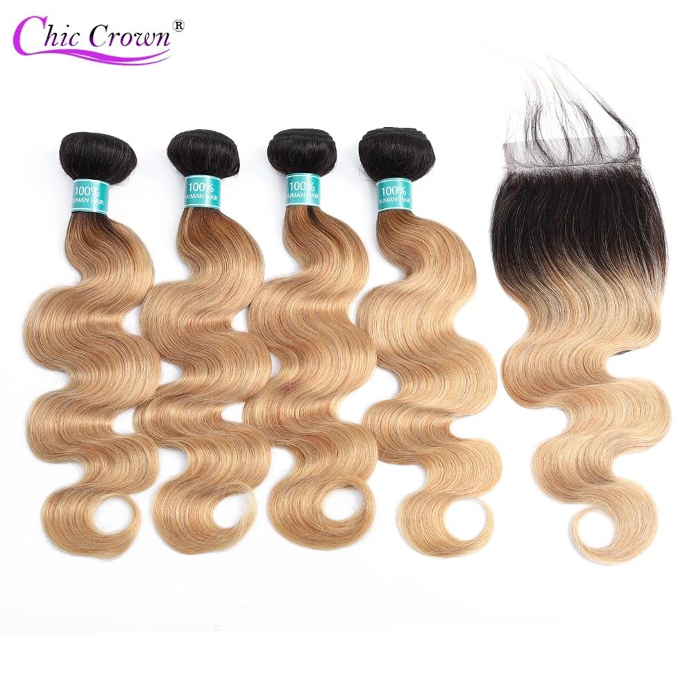 Ombre indyjskie włosy wyplata ciało pasma falowanych włosów z zamknięciem 1b 27 blond Ombre ludzkich włosów 4 wiązki z zamknięciem w 3/4 pasma z siateczką od Przedłużanie włosów i peruki na AliExpress - 11.11_Double 11Singles' Day 1